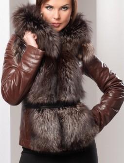 Кожаная куртка с мехом № 136